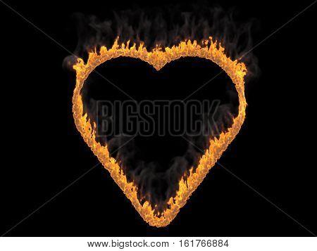 Heart on fire with fume. 3d render. Digital illustration