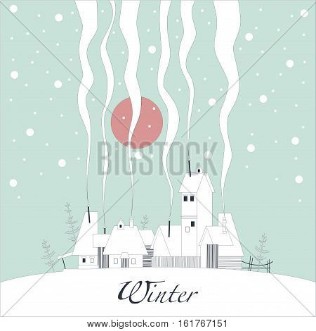 The cover of the card. Depicts a winter village on a snowy hill. From the pipes in homes is the smoke. From the sky the snow falls and the sun shines pink.
