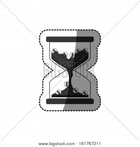 Coins and hourglass icon. Money financial item commerce market and buy theme. Isolated design. Vector illustration
