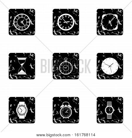 Kinds of watches icons set. Grunge illustration of 9 kinds of watches vector icons for web