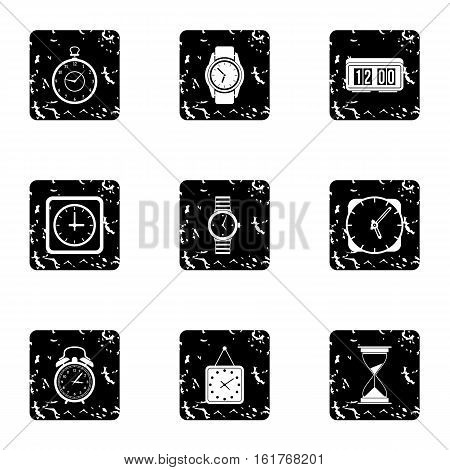 Chronometer icons set. Grunge illustration of 9 chronometer vector icons for web