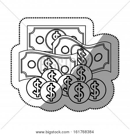 Bills and coins icon. Money financial item commerce market and buy theme. Isolated design. Vector illustration