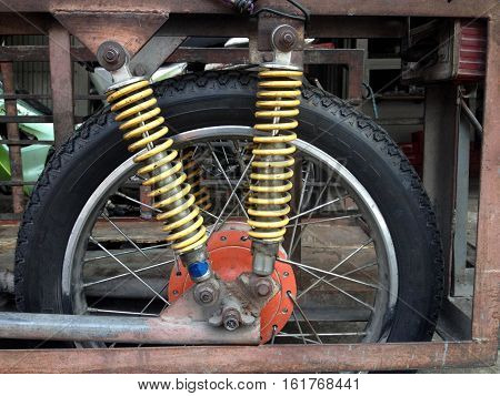Shock absorber at trailer motorcycle, transportation concept