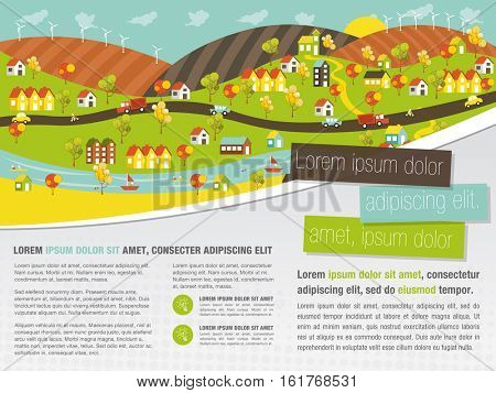 Template for advertising brochure with colorful city with houses, cars, trees and river