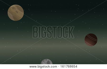 landscape of nature planet outer space vector illustration