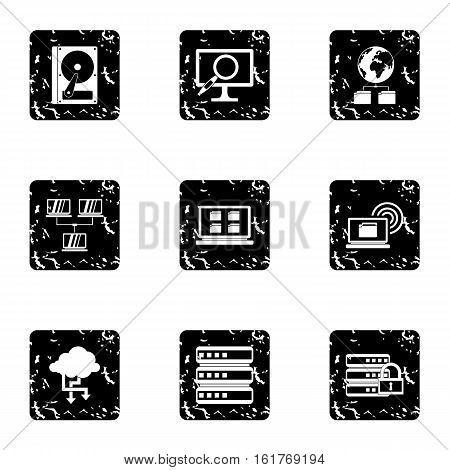 Data icons set. Grunge illustration of 9 data vector icons for web