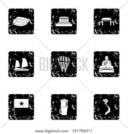 Vietnam icons set. Grunge illustration of 9 Vietnam vector icons for web