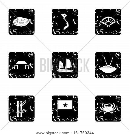 Holiday in Vietnam icons set. Grunge illustration of 9 holiday in Vietnam vector icons for web
