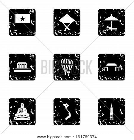 Attractions of Vietnam icons set. Grunge illustration of 9 attractions of Vietnam vector icons for web