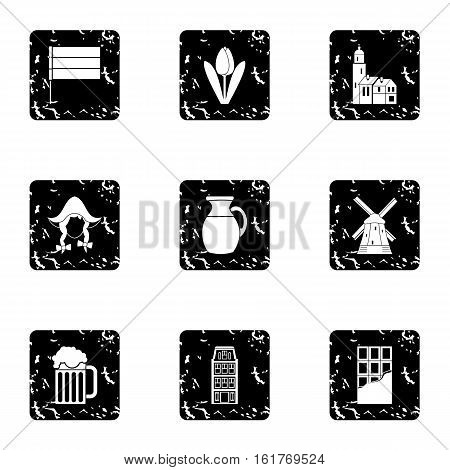 Tourism in Holland icons set. Grunge illustration of 9 tourism in Holland vector icons for web