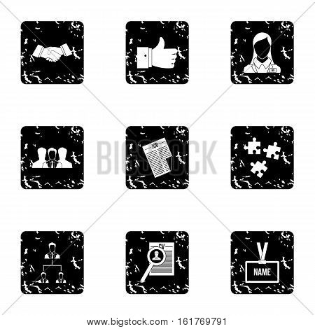 Staffing agency icons set. Grunge illustration of 9 staffing agency vector icons for web