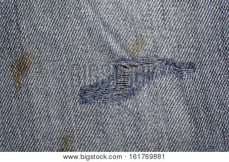 Macro photo of jeans fabric with fissure.