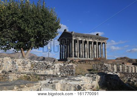 Landscape with ancient Garni Pagan Temple the hellenistic temple in Republic of Armenia. The Garni Temple is the fine example of the ancient Greek and Roman architecture