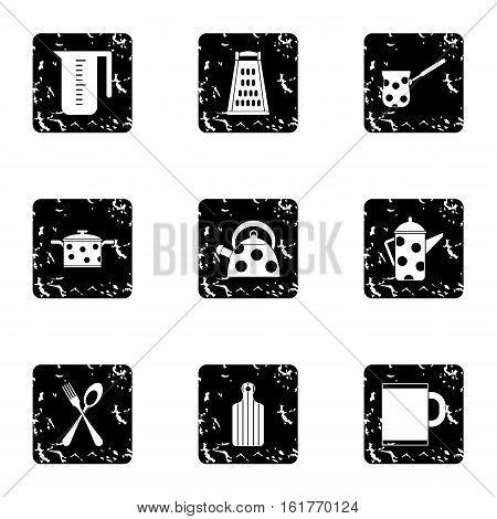 Kitchen utensils icons set. Grunge illustration of 9 kitchen utensils vector icons for web