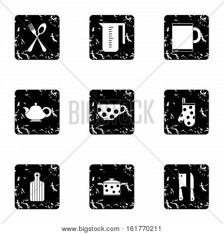 Dishes icons set. Grunge illustration of 9 dishes vector icons for web