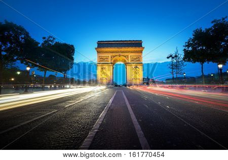 Arc de Triumph at evening, Paris, France
