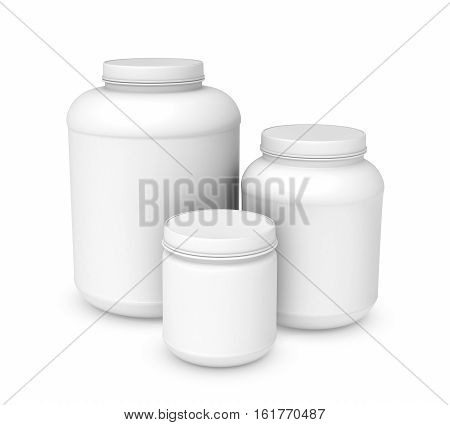 3d rendering of three white blank plastic jars of different sizes, isolated on white background. Cans and containers. Loading and transportation. Liquid and bulk cargo.