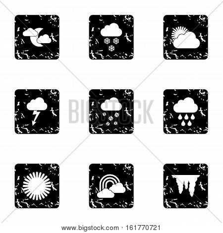Weather forecast icons set. Grunge illustration of 9 weather forecast vector icons for web