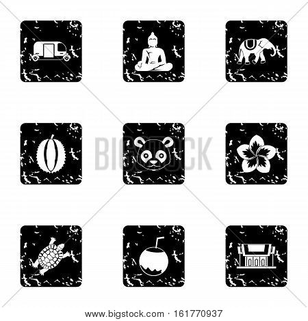 Tourism in Thailand icons set. Grunge illustration of 9 tourism in Thailand vector icons for web
