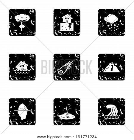 Natural catastrophe icons set. Grunge illustration of 9 natural catastrophe vector icons for web