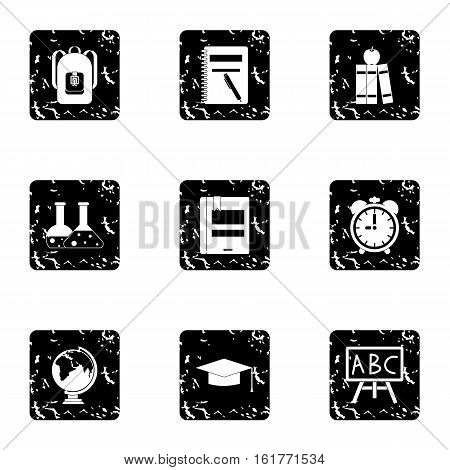 Schoolhouse icons set. Grunge illustration of 9 schoolhouse vector icons for web
