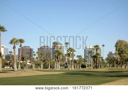 View at Phoenix Downtown from Encanto Park green lawns Arizona; Copy space in clear blue sky