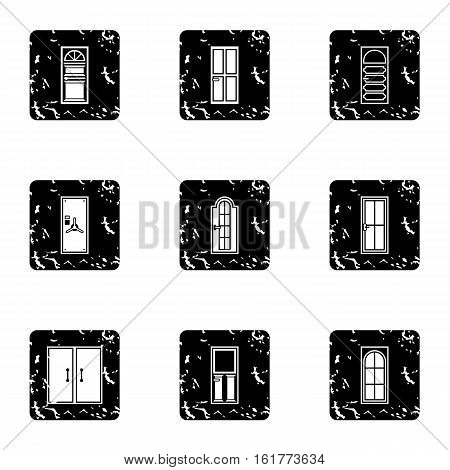 Exterior doors icons set. Grunge illustration of 9 exterior doors vector icons for web