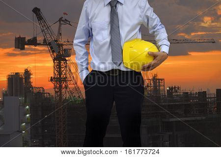 Working at risk on construction sites. , Construction concept .