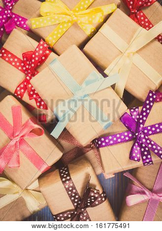 Vintage Photo, Wrapped Gifts With Colorful Ribbons For Christmas Or Other Celebration