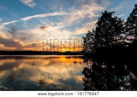 Bald Cypress trees at sunset at Stumpy Lake in Virginia Beach, Virginia.