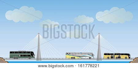 Two cable suspension Bridge with Nature Landscape Background vector Illustration