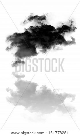 Dark cloud and its reflection over white background 3D rendering illustration