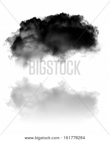 Single black fluffy cloud with its reflection flying over white background 3D rendering illustration. Dark cloud shape