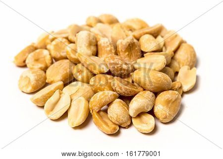 Roasted Unsalted Peanuts Isolated On White Background