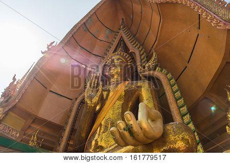 Big Budda in Tiger Cave Temple Kanchanaburi Thailand