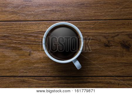 White Cup Of Coffee On Vintage Wood. Top View ,  Cup On Wooden Table. View From Top ,   Break Or Bre