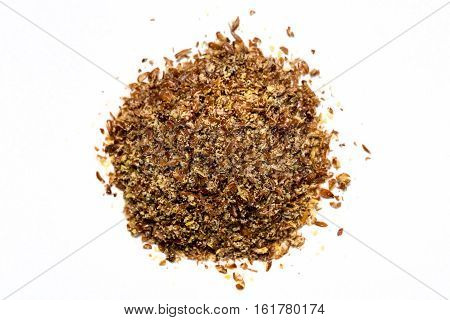 Ground Flax Meal Isolated On White Background
