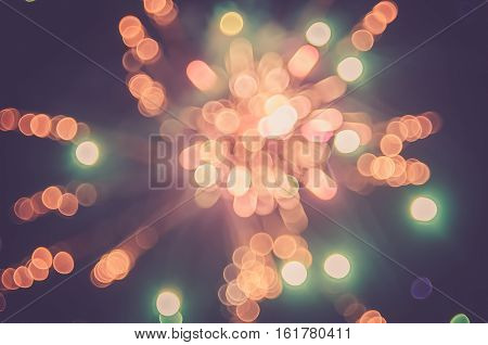 Colorful Bokeh Firework Cerebrate Happy New Year.