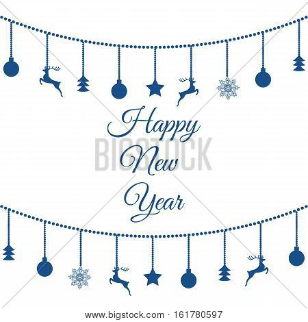 New Year Symbols Blue On A Solated Background Eps 10 Vector