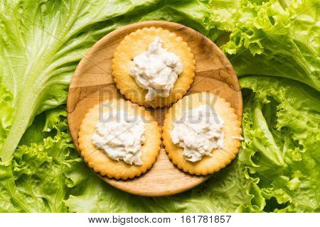 Cracker and tuna spread in wooden plate on a pile of green vegetable