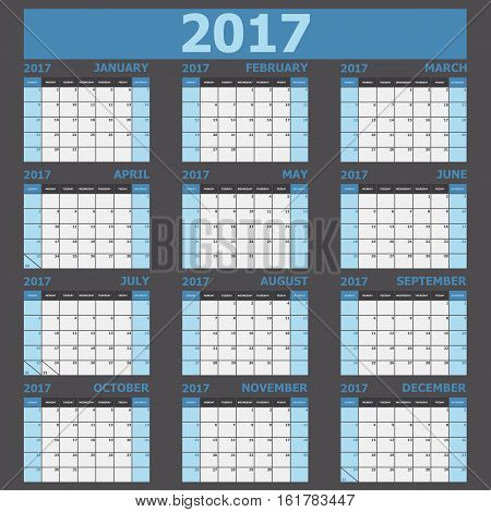 Calendar 2017 week starts on Sunday (blue tone), stock vector
