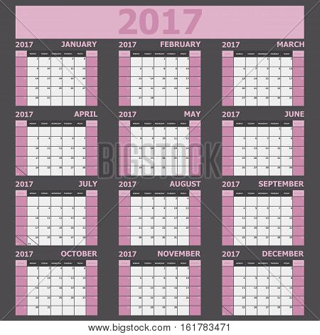 Calendar 2017 week starts on Sunday (light pink tone), stock vector
