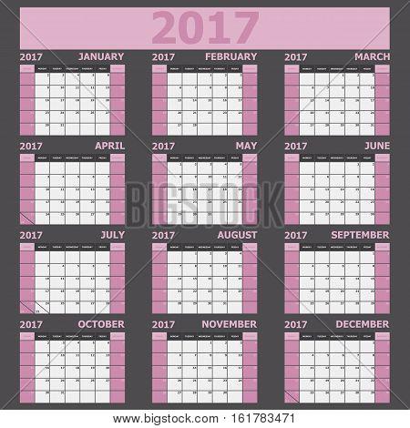 Calendar 2017 week starts on Sunday (light pink tone), stock vector