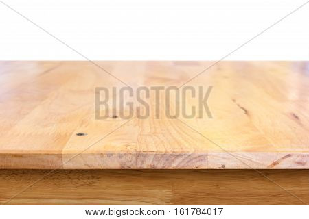 Wood table isolated on a white background