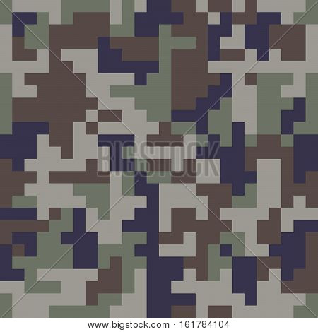 Pixel camo seamless pattern. Blue camouflage. Vector fabric textile print design