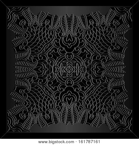 square frame ornamental tracery vintage pattern on a dark background embossed leather Ethnic Art Renaissance