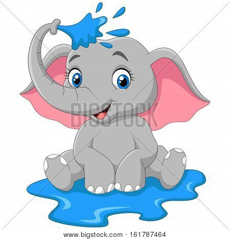 Vector illustration of Cartoon baby elephant spraying water