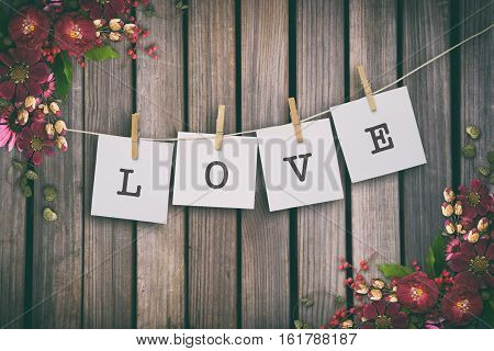 Wooden Background And Red Flowers, Words On Paper Sticker