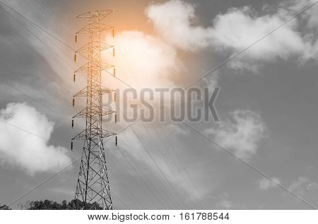 Electric Pole On Blue Sky And White Cloud Background.