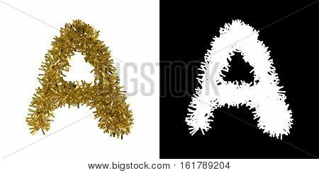 Letter A Christmas Tinsel With Alpha Mask Channel For Clipping - 3D Illustration